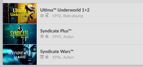 Ultima Underworld 1+2, Syndicate Plus and Syndicate Wars